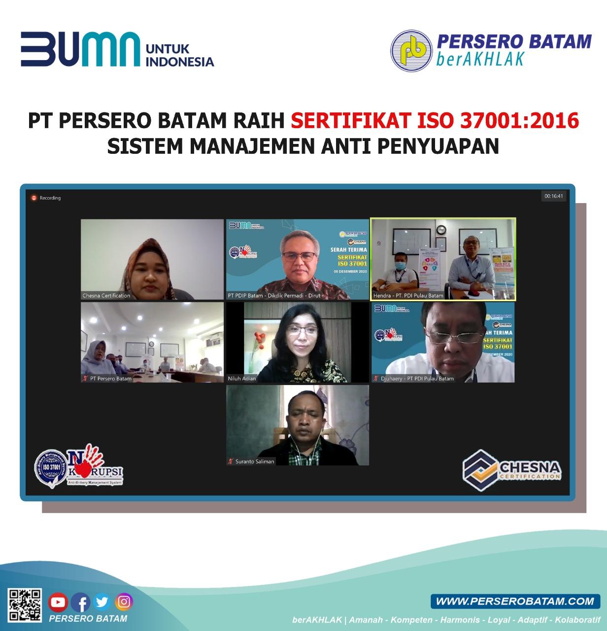 PT Persero Batam Raih Sertifikat ISO 37001:2016 Sistem Manajemen Anti Penyuapan